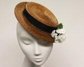 Cocktail Boater Hat- Wedding Fascinator - Amerie