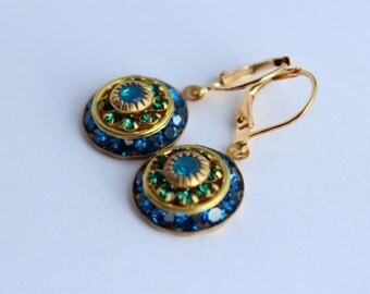 Swarovski earrings, blue and emerald earrings, capri blue earrings, bridal earrings, blue wedding, prom earrings, blue opal earrings SCB01