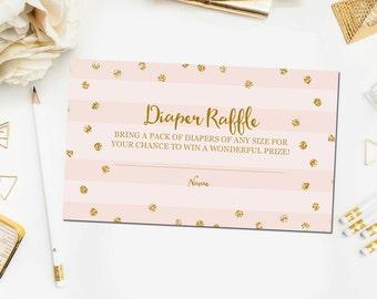 Printable Baby Shower Diaper Raffle Ticket Cards, Pink and Gold Diaper Raffle Ticket Instant Download, Diaper Game, Baby Diaper Raffle BB7