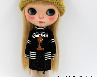 Girlish - Long Sleeves Garfield Dress for Blythe doll - dress / outfit