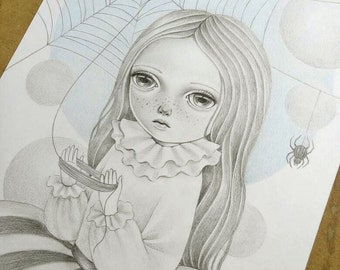Halloween Inspired Art, Lowbrow Art, Pop Surrealism Original Drawing, Gothic Creepy and Cute Illustration