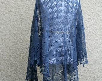 Knitted shawl, wedding shawl, bridesmaids shawl, knit lace shawl in grey blue color, triangular shawl gift for her