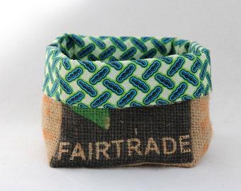 Upcycled Fairtrade and Organic Coffee Sack and African Wax Print Storage Basket Medium