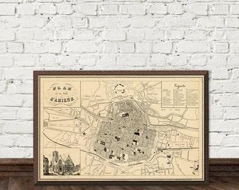 Amiens map - Plan de la ville d'Amiens - Old city map print