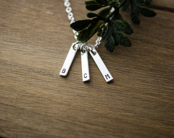 Sterling Silver Bar Necklace - Personalized Dainty Mom Jewelry | Choose 1 2 3 4 5 Stick Bars