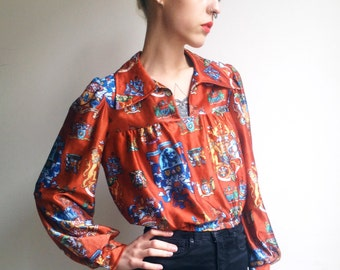 Vintage 70s Blouse Boho Pointy Collar Fitted Waist Long Sleeves Blouse Hippie Blouse Red Brown Blouse Shirt S Extra Small M Medium