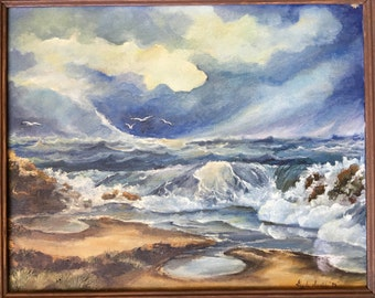 Vintage 1973 Seascape Ocean Original Art Oil Painting - Framed and Signed