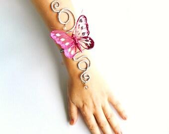 dark pink butterfly on Silver vine butterfly arm cuff bracelet hand cuff butterfly costume