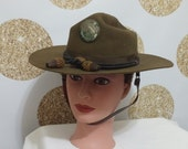 RARE Vintage Washington State Cavalry Hat. Indian Jones Style Hat with Chin Strap made by Nudelman Bros. Brother Seattle Portland 6 7/8 size