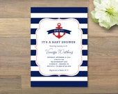 Printable Nautical Baby Shower Invitation, Birthday Invitation
