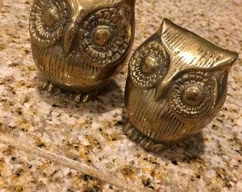 Big Eyed  Owl Pair Vintage brass