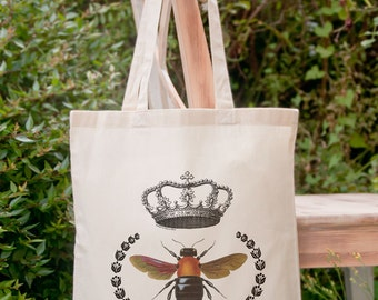 Vintage queen bee with crown tote bag-Bee tote bag-French tote bag-vintage honey bee bag-tote-french tote bag-design NATURA PICTA NPTB 006