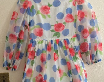 Rosa dots 70s chiffon formal maxi dress size XS