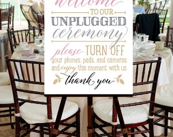 Printable Wedding Welcome Sign Poster INSTANT DOWNLOAD -- Unplug, Turn Off Phones -- Hand drawn, Calligraphy, Blush Pink, Gold