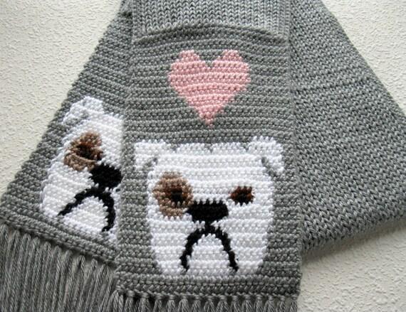 English Bulldog Scarf. Grey crochet scarf with white bulldogs and pink hearts. Knit bulldog scarf