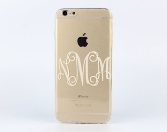 Personalized Monogram iPhone 6s plus case Clear iPhone 6s case painted Transparent silicon case - TSW6P010