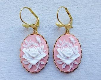 Rose Earrings/Mauve Earrings/Pink Flower Earrings/Rose Earrings/Blush Pink Earrings/Cameo Earrings/Bow Earrings/Floral Earrings/Roses