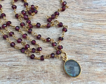 Labradorite & Garnet Rosary Y Drop Necklace // Gold, Wire Wrapped Rosary Lariat Chain, Stone, Red, Maroon, Gray, Delicate Gemstone Layer