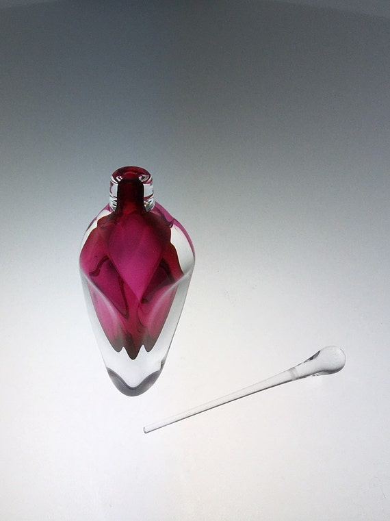 Hand Blown Glass Perfume Bottle - Ruby Red Overlay  by Jonathan Winfisky