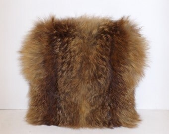 Vintage 1940s real ginger red fox fur hand warmer muff and handbag bag