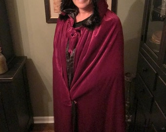 Witch Cape, Red Velvet Feathers Trim