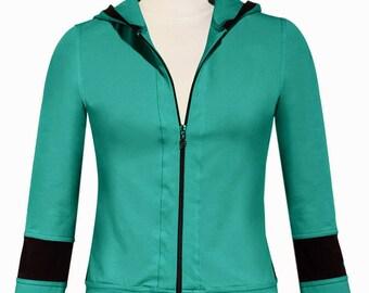 TEAL / BLACK Yoga Hoodie / Jacket / 36.00 / FREE usa Ship 1-3 days / Sizes Left  Small 4/6 or Medium 6/8