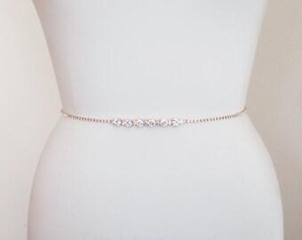 Rose gold bridal belt, Super skinny bridal belt, Dainty crystal belt sash, Swarovski crystal bridal belt sash, Super skinny rhinestone belt