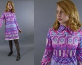 1960s Paganne Mod Psychedelic Mini Dress