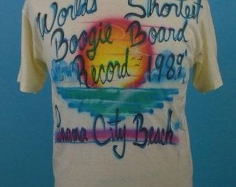 1980s OOAK Airbrushed Panama City Beach T-Shirt XL Boogie Board 1989