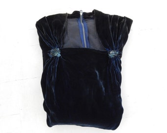 Vintage Dark Blue Velvet Dress - 1940s