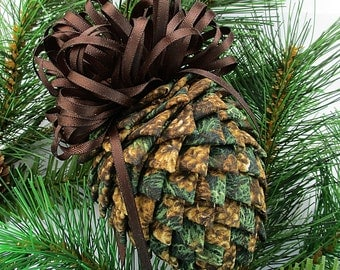 Fabric Pinecone Ornament - Pinecones on Greens, Christmas Ornament, Stocking Stuffer, Co-Worker Gift