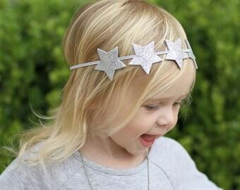 Silver Star Headband,Silver Glitter Star Headband,Star Halo Headband,Star Headband for Baby Toddler Girls Women,Photo Prop,Patriotic