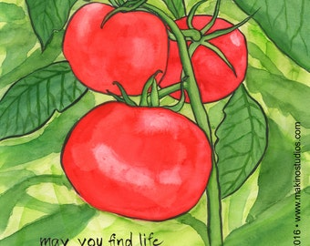 219. garden tomato greeting card - choose any 6 designs