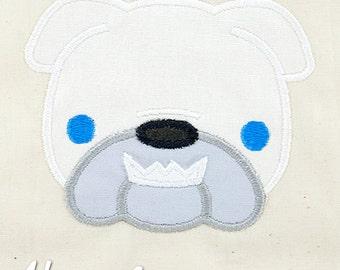 Bulldog Applique Embroidery Design, dog applique, english bulldog applique, machine embroidery, applique, dog breed, bulldog embroidery