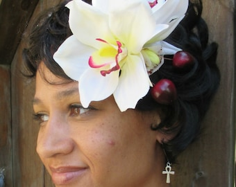 White Orchid hair flower clip, double bloom, pin-up, cherry
