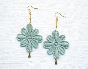 Moss Green and Gold Lace Earrings