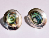 SALE Vintage Sterling Silver Abalone Oval Post Earrings