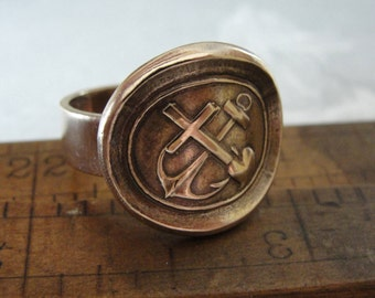 Wax Seal Ring - Faith Hope Love - antique seal jewelry with cross anchor and heart - size 8