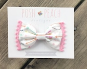 Multi Color Arrows PomPom Trim Bow // Hair Clip or Headband