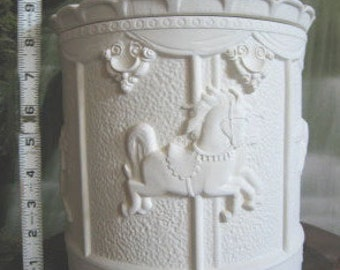 """Vintage, Large, 11"""", Cookie Jar, Beautiful, Carousel  Cookie Jar, Carousel Horses, kitchen container,Ready to paint,u-paint, Ceramic bisque"""