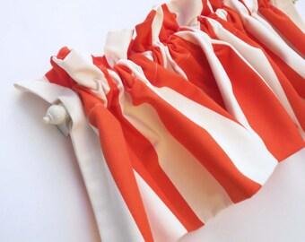 ORANGE STRIPE Valance Curtains Orange White Stripes 58 inches wide Kitchen Valances Bold Thick stripes