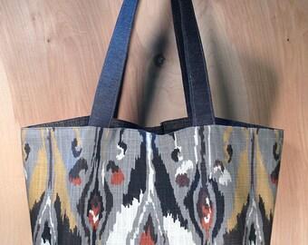 IkatTote bag- Southwest Tote- Charcoal Grey Ikat- Cotton Tote- by beckyzimmdesign