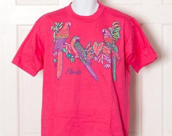 Vintage 90s Bright FLORIDA Tshirt - bright pink parrots - L