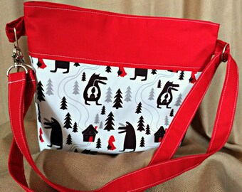 Red Riding Hood Crossbody Bag with Adjustable Strap - Convertible Purse - Big Bad Wolf - Custom Order
