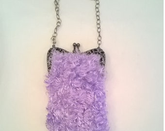 Handcrafted Lavender Evening Bag - Silky, Furry Fabric - Elaborate Dark Silver Frame - Chain Handle - OOAK Evening Purse, Handbag