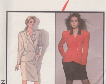 1986 Sleek, Curvy Power Suit Vintage Pattern, Rifat Ozbek for Style 1200, Lapels, Padded Shoulders, Double Breasted, Pencil Skirt, Contrast