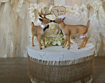 Buck-doe-bride-groom-wedding-cake topper-hunter-rustic-camouflage-Mr and Mrs-deer-deer hunter-wedding decor-camo wedding-woodland-deer lover