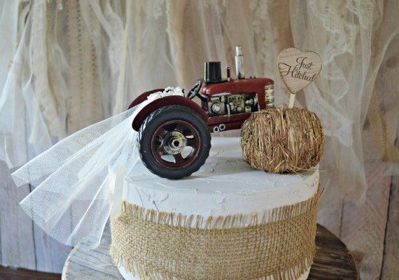farm tractor wedding cake topper barn country farmer cow hay