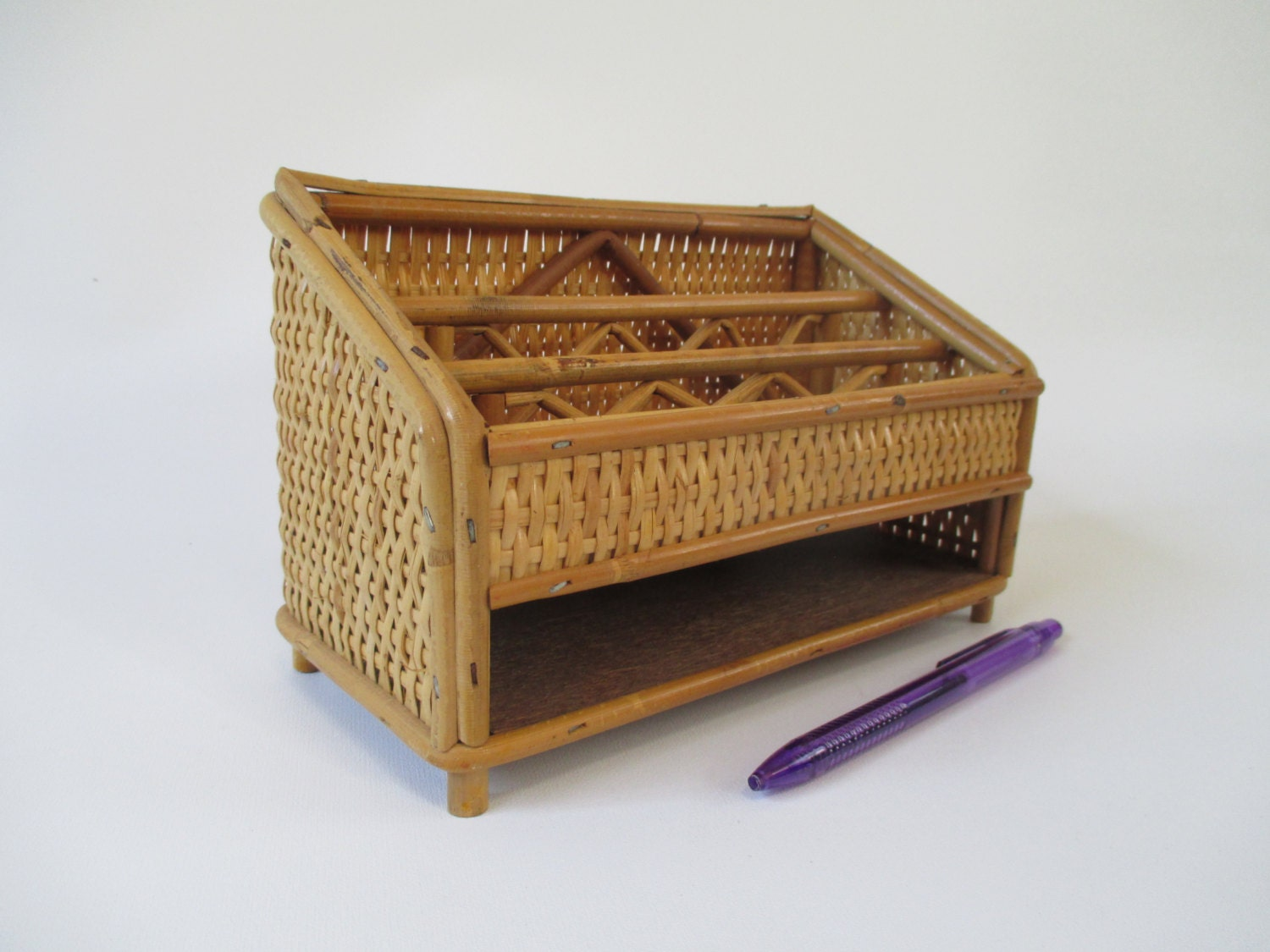 Reserved for tonicuz desk organizer vintage bamboo and - Bamboo desk organiser ...