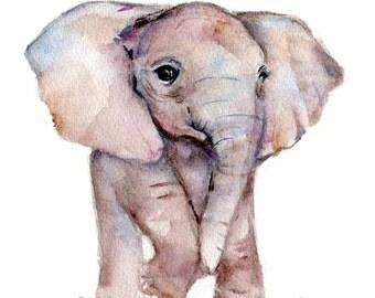 elephant baby art, elephant nursery print, elephant decor, baby animal prints, children's wall art, baby art, elephant print, watercolor